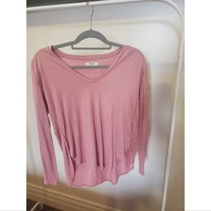 Madewell Pink V-neck Long Sleeve Top